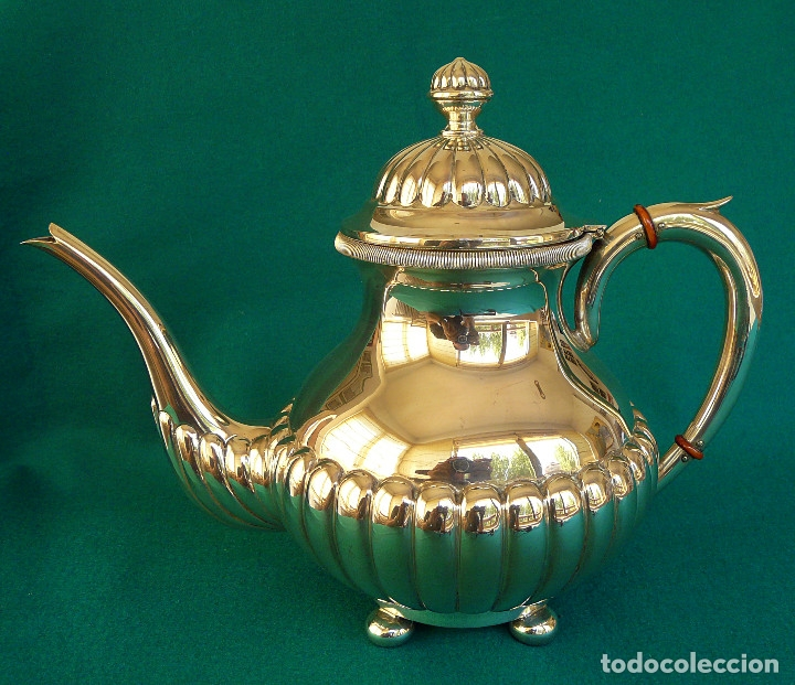Antigüedades: Juego de merienda (té y café) en plata de ley - Foto 4 - 175820555