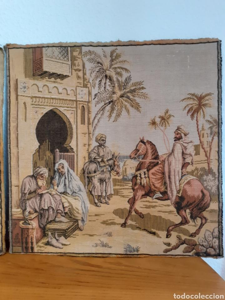 Antigüedades: Dos magníficos antiguos tapices. Motivos moriscos. 51 X 51 cms - Foto 3 - 175824997