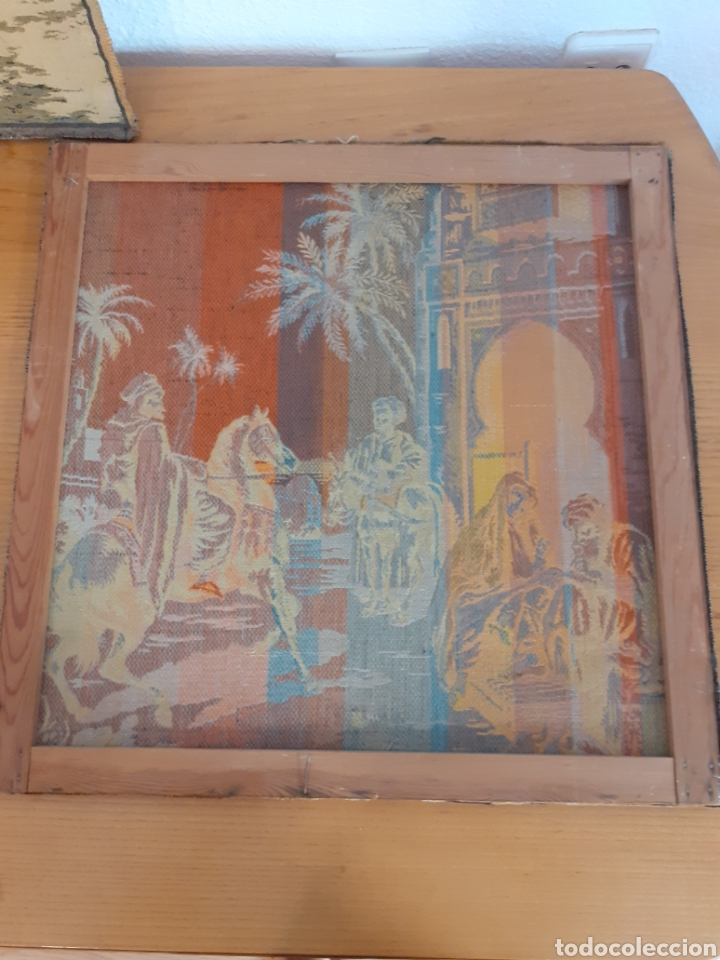 Antigüedades: Dos magníficos antiguos tapices. Motivos moriscos. 51 X 51 cms - Foto 4 - 175824997
