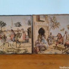 Antigüedades: DOS MAGNÍFICOS ANTIGUOS TAPICES. MOTIVOS MORISCOS. 51 X 51 CMS. Lote 175824997