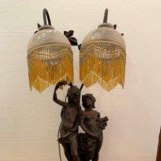 Antigüedades: LAMPARA DE SOBREMESA EN ALABASTRO. Lote 175863013