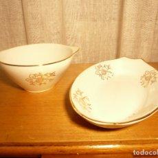 Antigüedades: PORCELANA ROYAL CHINA VIGO. LOTE DE 2 PIEZAS: RABANERA Y BOL. Lote 175878404
