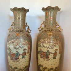 Antigüedades: GRAN PAREJA DE JARRONES CHINOS.ASIATICO SATSUMA. Lote 175890897