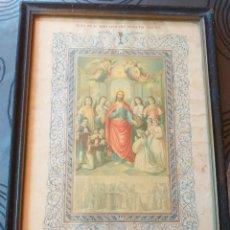 Antigüedades: ANTIGUO CUADRO RELIGIOSO 1899,1886,1891,PRIMERA COMUNION. Lote 175893162