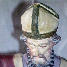 Antigüedades: ~~~~ ANTIGUA Y PRECIOSA IMAGEN DE ESTUCO POLICROMADO, SAN NICOLAS DE BARI, MIDE 25 CM. ~~~~. Lote 175895075