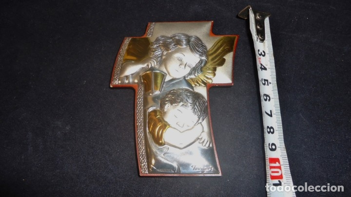 Antigüedades: Precioso crucifijo lamina de plata con firma Tangan - Foto 5 - 175910103