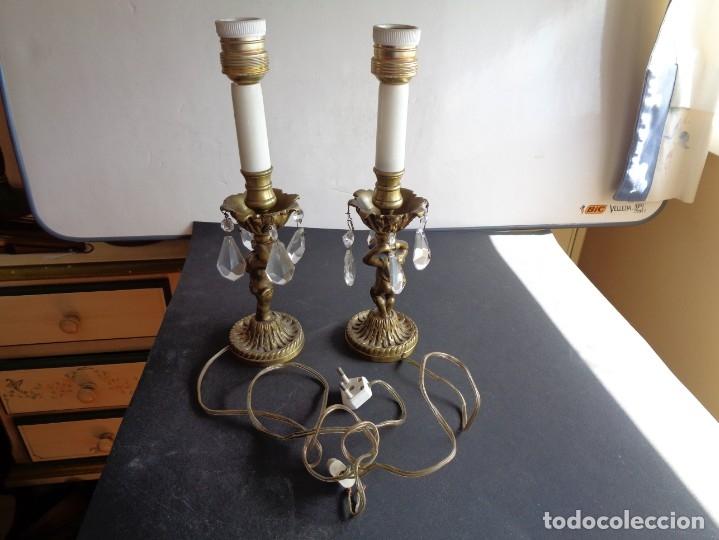 PAREJA DE LAMPARAS ANTIGUAS DE SOBREMESA (Antigüedades - Iluminación - Lámparas Antiguas)