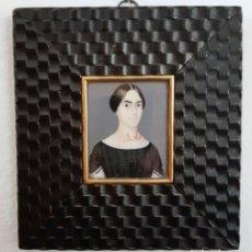 Antigüedades: RETRATO DE DAMA. MINIATURA PINTADA SOBRE MARFIL. ESCUELA ESPAÑOLA SIGLO XIX. Lote 175917918