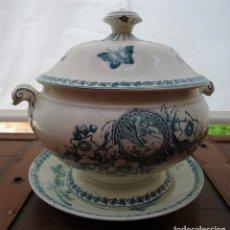 Antigüedades: ANTIGUA SOPERA S XIX CON PLATO DE LA FIRMA PICKMAN LA CARTUJA.. Lote 175918888