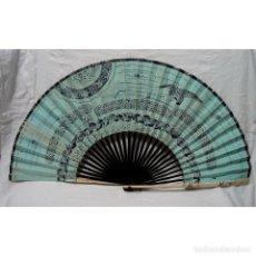 Antigüedades: GRAN ABANICO PERICON. CHINA. PAPEL PINTADO TINTA. HUESO. DINASTÍA QING. SIGLO XIX.. Lote 175924165