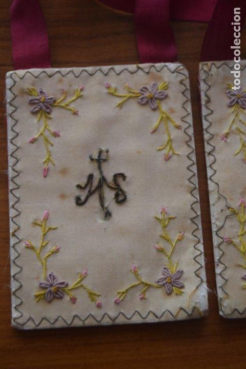 Antigüedades: escapulario detente bordado - Foto 2 - 175941279