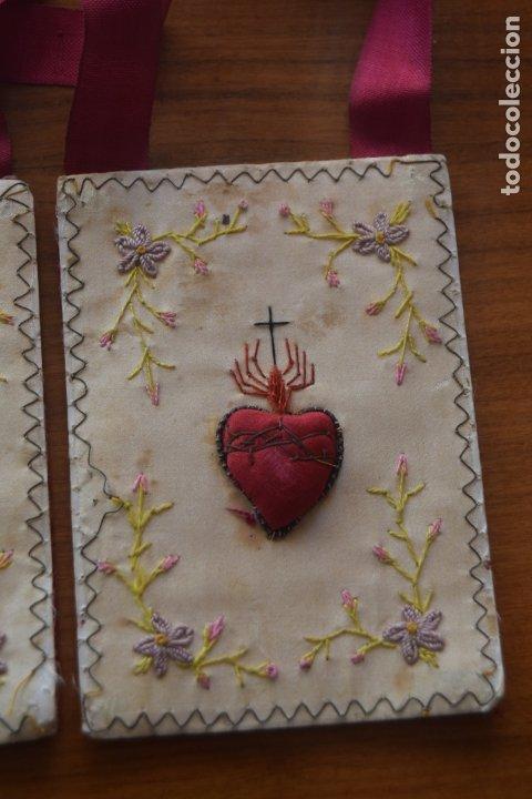 Antigüedades: escapulario detente bordado - Foto 3 - 175941279