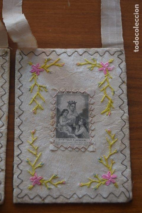 Antigüedades: escapulario del carmen bordado - Foto 3 - 175941349