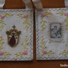 Antigüedades: ESCAPULARIO DEL CARMEN BORDADO. Lote 175941349