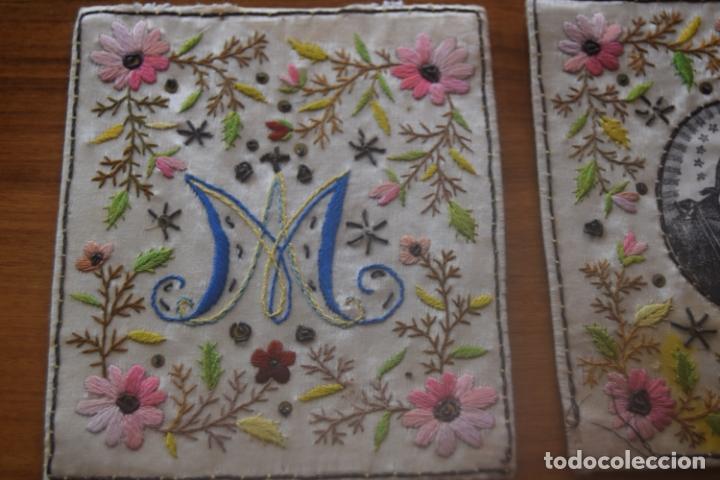 Antigüedades: escapulario bordado indumentaria - Foto 2 - 175941694