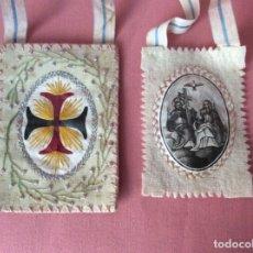 Antigüedades: ESCAPULARIO DE TELA. ANTIGUO. BORDADO. SANTÍSIMA TRINIDAD.. Lote 175969674