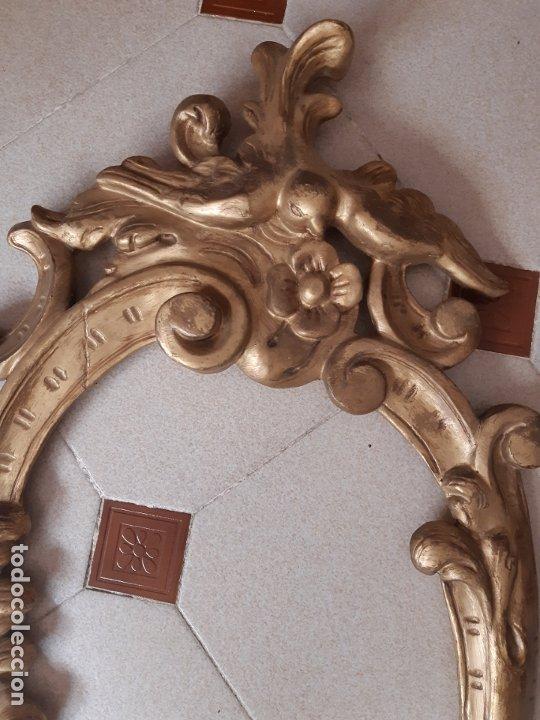 Antigüedades: MARCO ANTIGUO OVAL EN MADERA TALLADA. 84 x 44 CMS. - Foto 3 - 176003295