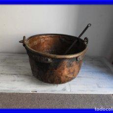 Antigüedades: CALDERO DE COBRE ANTIGUO CON SU ESPUMADERA S. XVIII. Lote 176024047