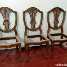 Antigüedades: JUEGO DE TRES SILLAS EN MADERA. Lote 176042212