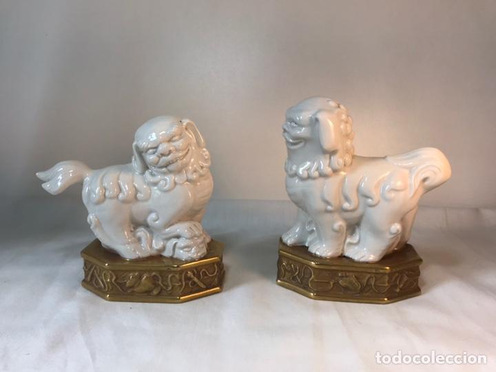 FIGURAS PORCELANA-ESPAÑA- ALGORA - DOS PERROS FOO (Antigüedades - Porcelanas y Cerámicas - Algora)