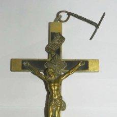 Antigüedades: PRECIOSO CRUCIFIJO, CRISTO DE BRONCE DORADO AL MERCURIO Y MADERA DE PALO SANTO, SIGLO XIX, MIDE 22 C. Lote 176065144