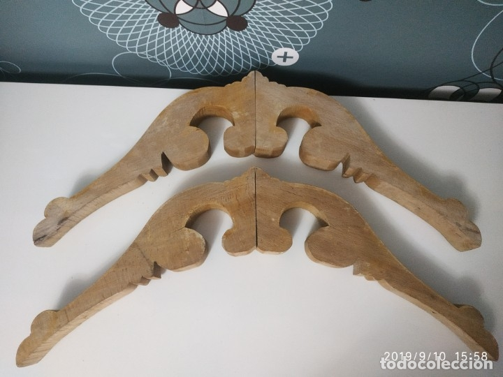 Antigüedades: Dos copetes o molduras de madera maciza. - Foto 2 - 176092682