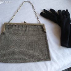 Antigüedades: BOLSO MALLA PLATA NO. Y. GUANTES. Lote 176094324