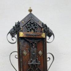 Antigüedades: LIMOSNERO DE MADERA,METAL Y FORJA . Lote 176094469