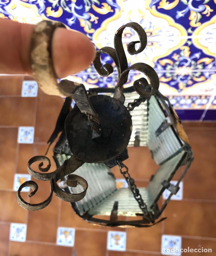 Antigüedades: ANTIGUO Y ORIGINAL FAROL DE HIERRO FORJADO. LÁMPARA. - Foto 4 - 176095407