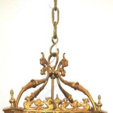 Antigüedades: FAROL EN BRONCE Y CRISTAL EMPLOMADO. Lote 176101610
