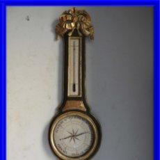 Antigüedades: BAROMETRO TERMOMETRO LUIS XVI EN MADERA TALLADA Y POLICROMADA. Lote 176111058