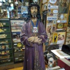 Antigüedades: GRAN FIGURA DEL CRISTO DE MEDINACELI PASTA DE OLOR. 65 CM DE ALTURA. Lote 176117383