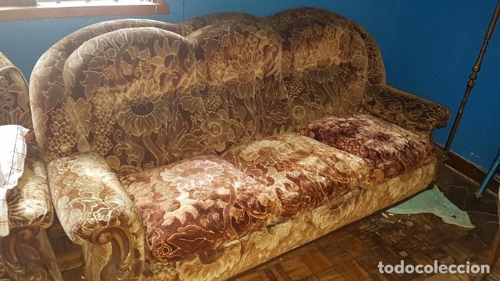 Antigüedades: Conjunto de sofas 3 plazas mas 2 sillones. - Foto 3 - 176140078