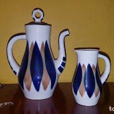 Antigüedades: CONJUNTO DE CAFETERA Y LECHERA SARGADELOS. Lote 176140634