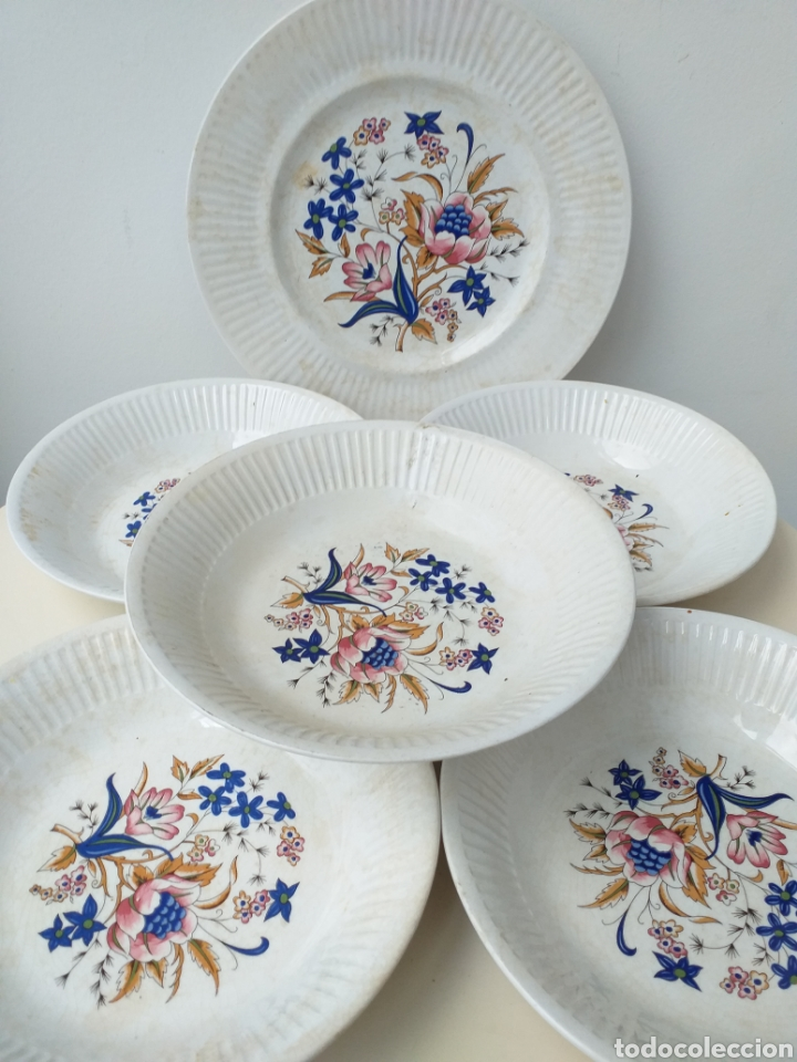 LOTE 6 PLATOS ANTIGUOS DE CERÁMICA DE VARGAS SEGOVIA (Antigüedades - Porcelanas y Cerámicas - Otras)