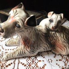 Antigüedades: FIGURA DE PERRA CON CACHORRO, DE ESTUCO, ANTIGUA. Lote 176184388