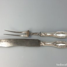Antigüedades: CUBIERTOS DE SERVIR EN PLATA LEY MARCADO CON CONTRASTE XIX. Lote 176188658