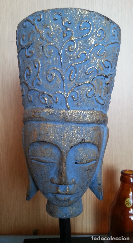 FIGURA HINDÚ EN MADERA DE BUSTO SOBRE PEANA. (Antigüedades - Hogar y Decoración - Figuras Antiguas)