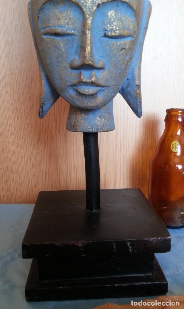 Antigüedades: Figura Hindú en madera de busto sobre peana. - Foto 2 - 176188672