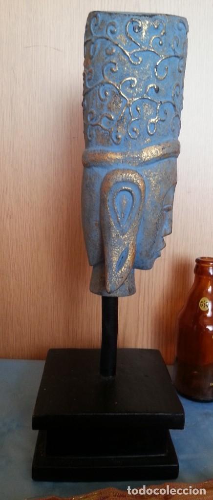 Antigüedades: Figura Hindú en madera de busto sobre peana. - Foto 3 - 176188672