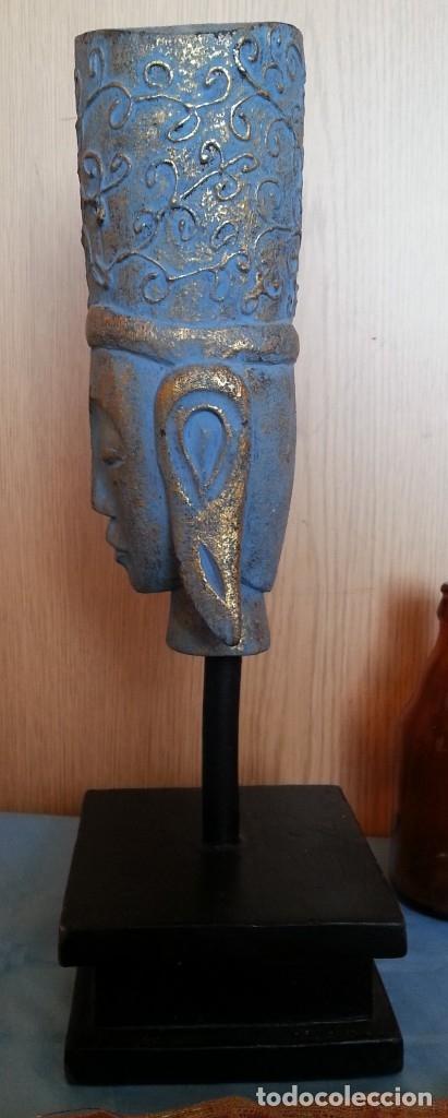 Antigüedades: Figura Hindú en madera de busto sobre peana. - Foto 5 - 176188672