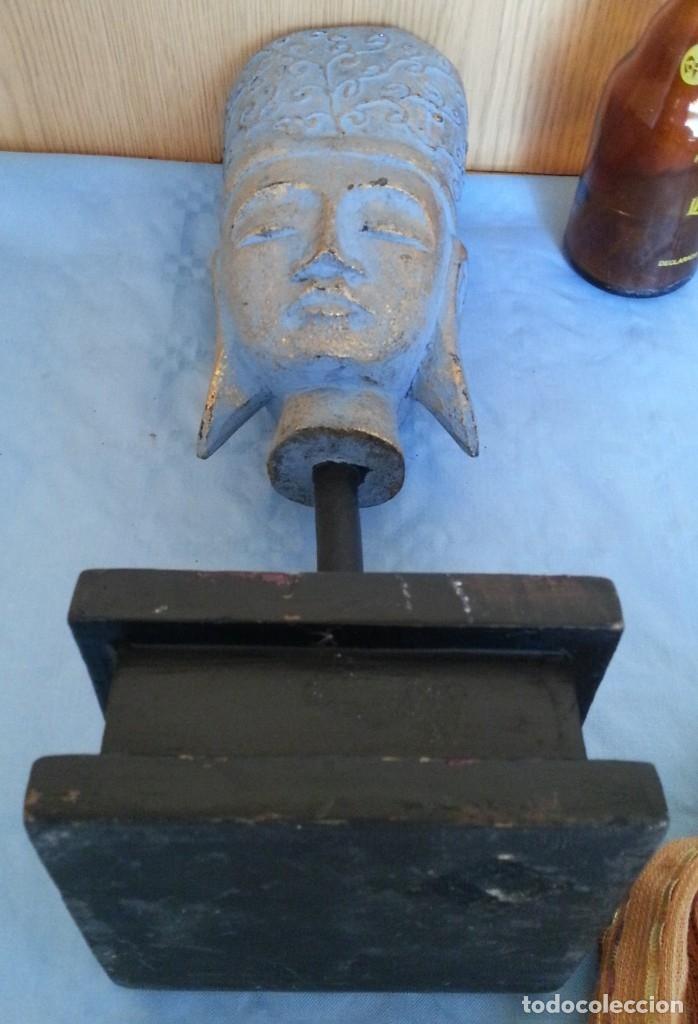 Antigüedades: Figura Hindú en madera de busto sobre peana. - Foto 7 - 176188672