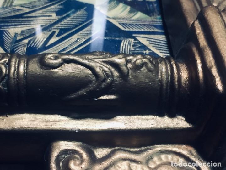 Antigüedades: HORNACINA MURAL ESCAYOLA DORADA IMAGEN VIRGEN PERPETUO SOCORRO FAROLILLOS HOJALATA - Foto 3 - 176197125