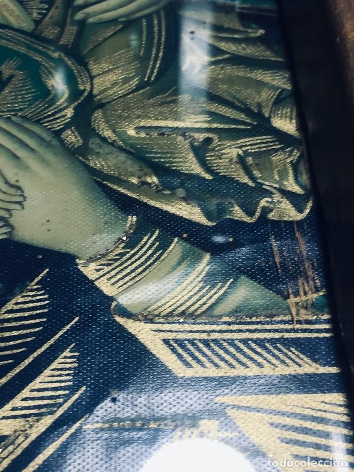 Antigüedades: HORNACINA MURAL ESCAYOLA DORADA IMAGEN VIRGEN PERPETUO SOCORRO FAROLILLOS HOJALATA - Foto 7 - 176197125