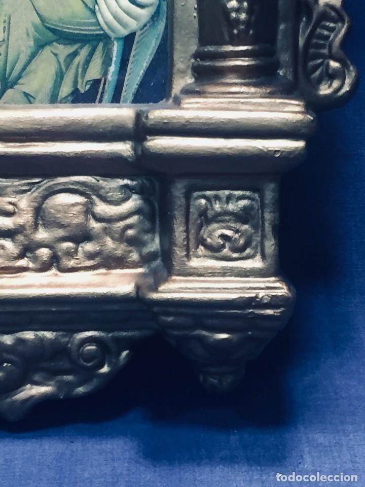 Antigüedades: HORNACINA MURAL ESCAYOLA DORADA IMAGEN VIRGEN PERPETUO SOCORRO FAROLILLOS HOJALATA - Foto 27 - 176197125