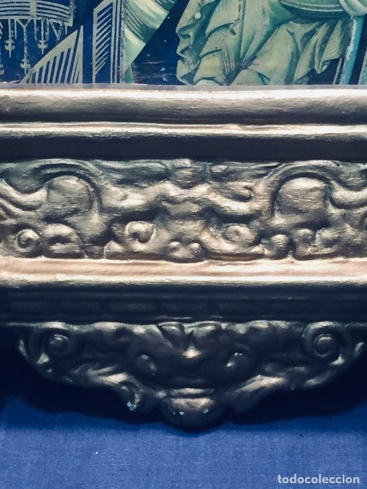 Antigüedades: HORNACINA MURAL ESCAYOLA DORADA IMAGEN VIRGEN PERPETUO SOCORRO FAROLILLOS HOJALATA - Foto 28 - 176197125