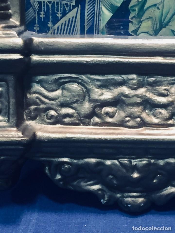 Antigüedades: HORNACINA MURAL ESCAYOLA DORADA IMAGEN VIRGEN PERPETUO SOCORRO FAROLILLOS HOJALATA - Foto 29 - 176197125
