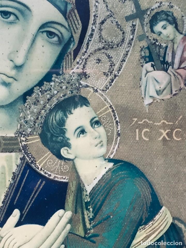 Antigüedades: HORNACINA MURAL ESCAYOLA DORADA IMAGEN VIRGEN PERPETUO SOCORRO FAROLILLOS HOJALATA - Foto 33 - 176197125
