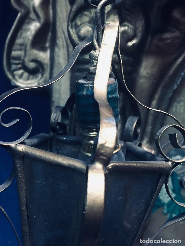 Antigüedades: HORNACINA MURAL ESCAYOLA DORADA IMAGEN VIRGEN PERPETUO SOCORRO FAROLILLOS HOJALATA - Foto 36 - 176197125
