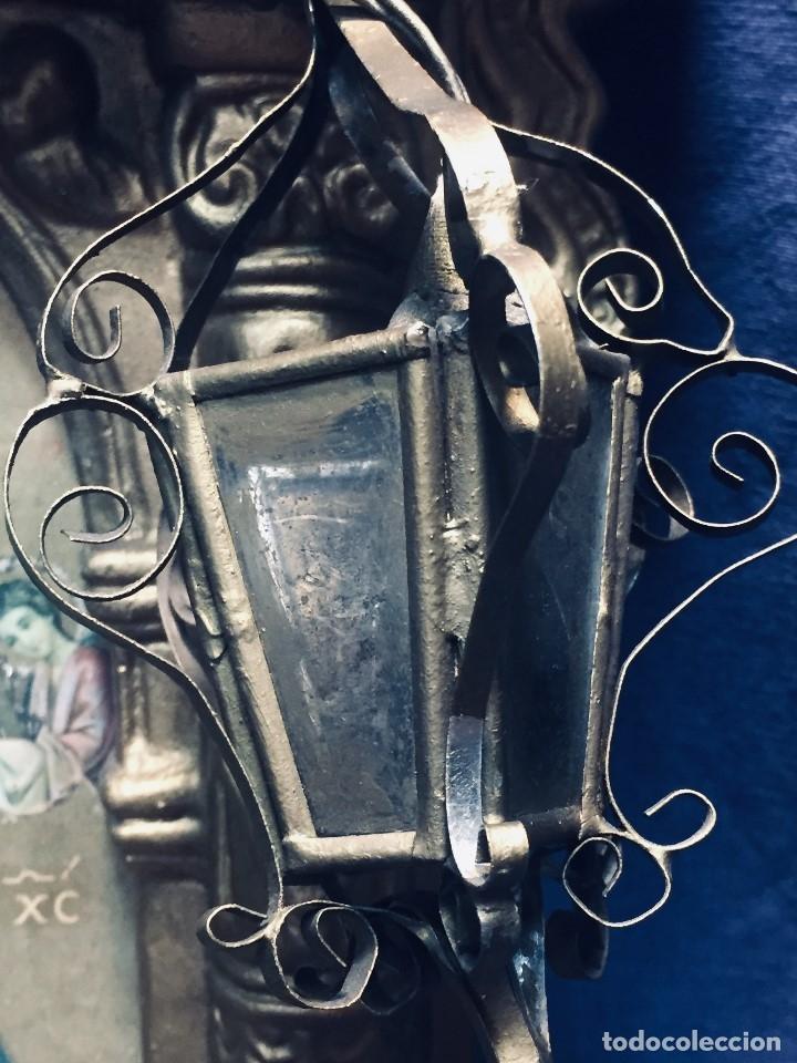 Antigüedades: HORNACINA MURAL ESCAYOLA DORADA IMAGEN VIRGEN PERPETUO SOCORRO FAROLILLOS HOJALATA - Foto 41 - 176197125